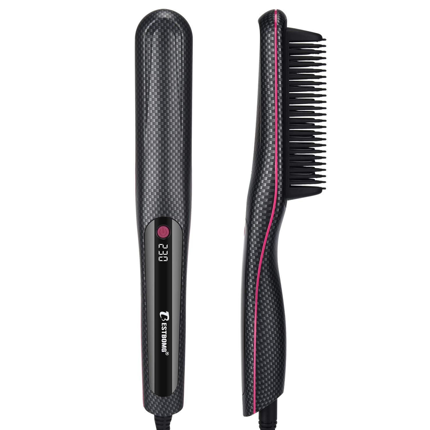 Hair Straightener Brush, BESTBOMG Fast Ceramic Heat/Ionic Hair Brush Comb Instant Styling for Women/Girl/Men Curling & Straightening Thick/Thin Hairs & Long Beard Comb Straighteners with 0.98-IN Teeth