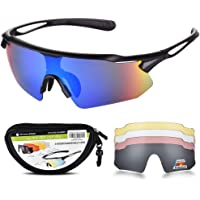 Cycling Glasses with 5 Interchangeable Lenses and TR90 Frame, UV400 Sports Sunglasses for Men Women Cycling Climbing Fishing Driving