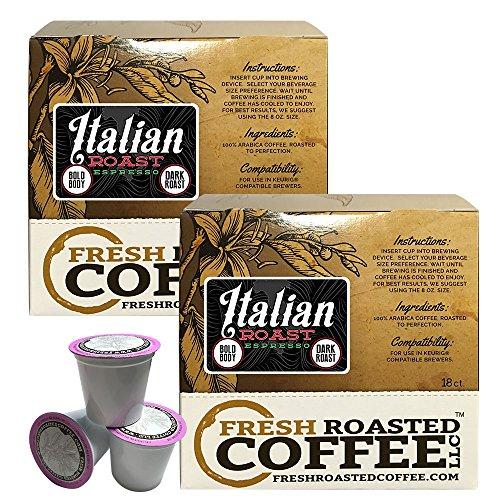 Italian Roast Artisan Blend Single-Serve Cups, 36 ct. of Single Serve Capsules for Keurig K-Cup Brewers, Fresh Roasted Coffee LLC.