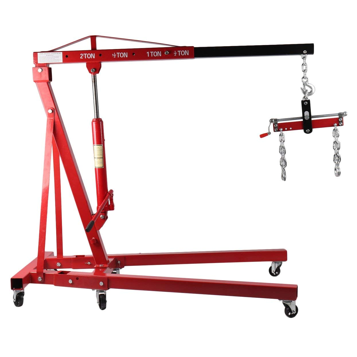 mymerlove 2T Folding Engine Crane with Balancer Workshop Crane Mobile Car Lifting Tool by mymerlove