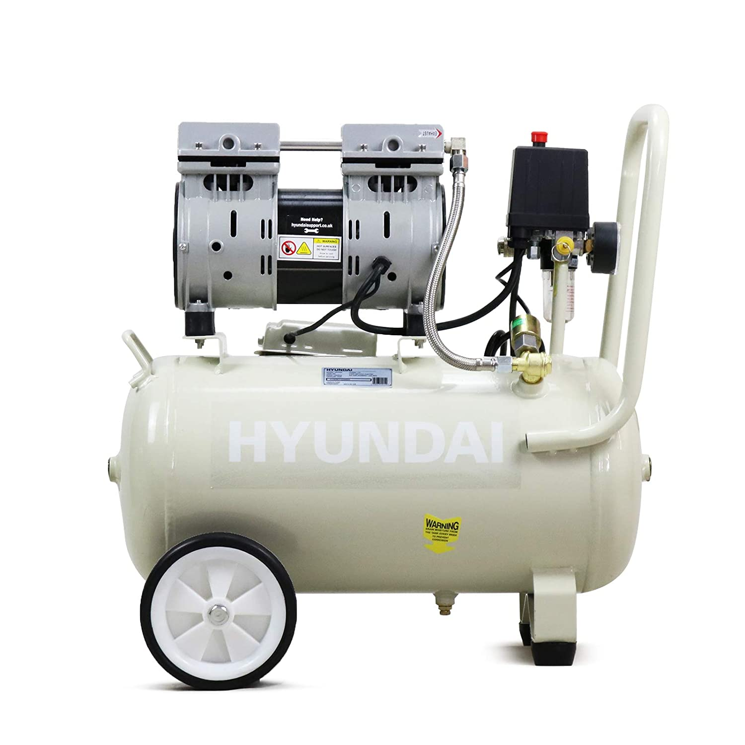 1HP 24 Litre Oil Free Direct Drive Silenced Air Compressor Hyundai HY7524 5.2CFM
