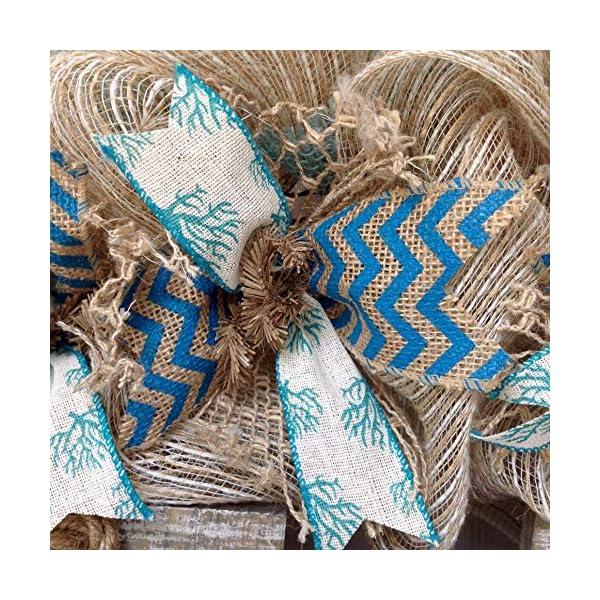 Weathered Driftwood Beach Wreath with Nautical Balls Handmade Deco Mesh
