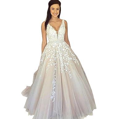 Fanciest Womens V Neck Appliques Long Prom Dresses 2018 Evening Party Dress Light Champagne US2