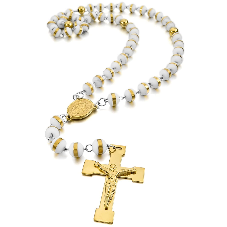MunkiMix Acero Inoxidable Plástico Caucho Colgante Collar Oro Dorado Tono Blanco White