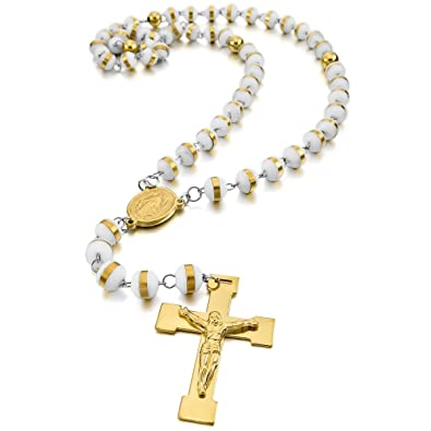 MunkiMix Acier Inoxydable Caoutchouc Pendentif Collier Or Ton Blanc Vierge  Marie Jésus Chrétien Crucifix Croix Rosaire 8f3b404e5b1c