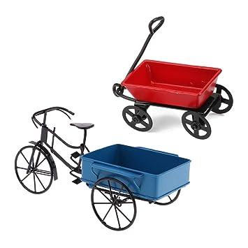Amazon.es: KESOTO Vintage 1:12 Casa de Muñecas Jardín en Miniatura Carrito de Metal y Triciclo: Juguetes y juegos
