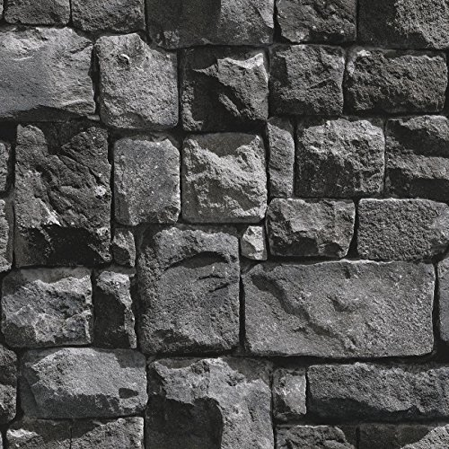"Birwall 2015 Faux Stone Textured Wallpaper Roll 3D Brick Blocks Home Decoration,20.8"" x 393.7"",Dark Gray"