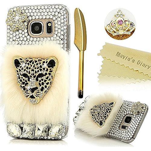 S7 Case,Samsung Galaxy S7 Case - Mavis's Diary 3D Handmade Bling Crystal Fashion Fur Series Golden Leopard head Sales