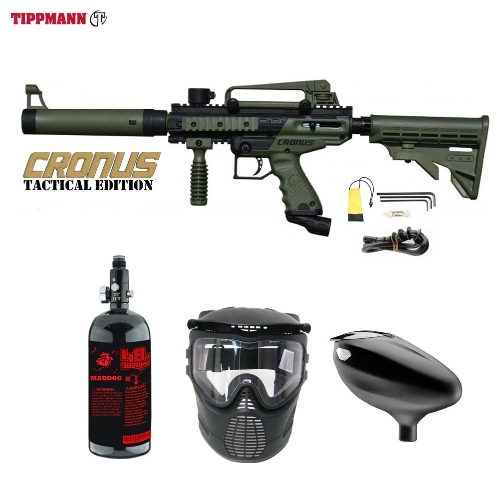 Maddog Tippmann Cronus Tactical Beginner HPA Paintball Gun Package - Black/Olive by Maddog