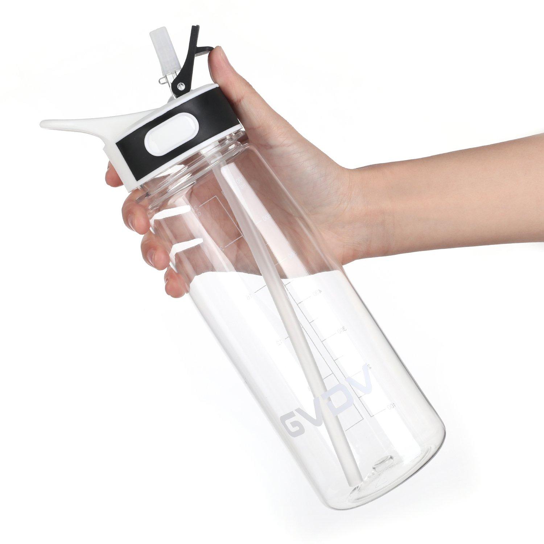 Botella Deporte - GVDV 800ml Botella de agua sin BPA, Tritan Reutilizable Plástico Ecológico con Medidor y Pajita, Negro