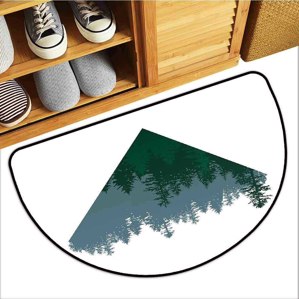TableCovers&Home Scraper Entrance Mat, Forest Decorative Imdoor Rugs for Office, Triangle Frame with Coniferous Tree Silhouettes Modern Geometric (Slate Blue Dark Green White, H24 x D36 Semicircle)