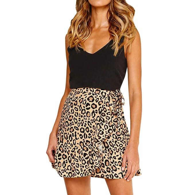 Falda para Mujer, Lenfesh Falda Corta de Estampado de Leopardo ...