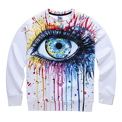 TOPDCLSN Classic Model Men/Women 3D Sweatshirt Funny Print Colorful Crying Eyes Autumn Winter Thin Style Casual Hoodies,W1673014,S]()