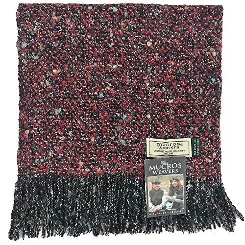 Alpaca Boucle Scarf - Mucros Weavers Alpaca Boucle Luxury Scarf, Woven in Ireland (AB18 Black/Red)