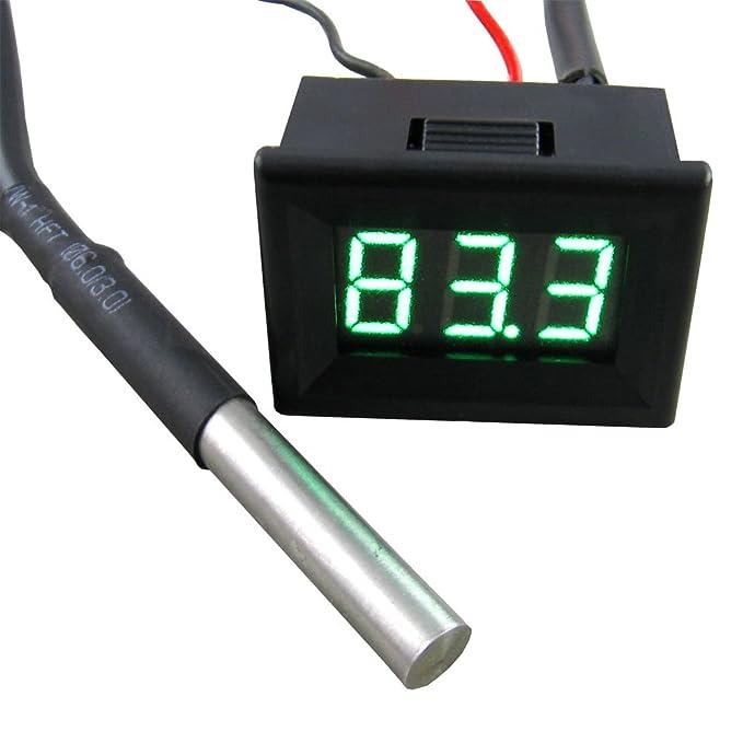 """3 opinioni per Yeeco 0.36 """"Black Guscio Verde Termometro Digitale LED -55-125 ° C Temperatura"""