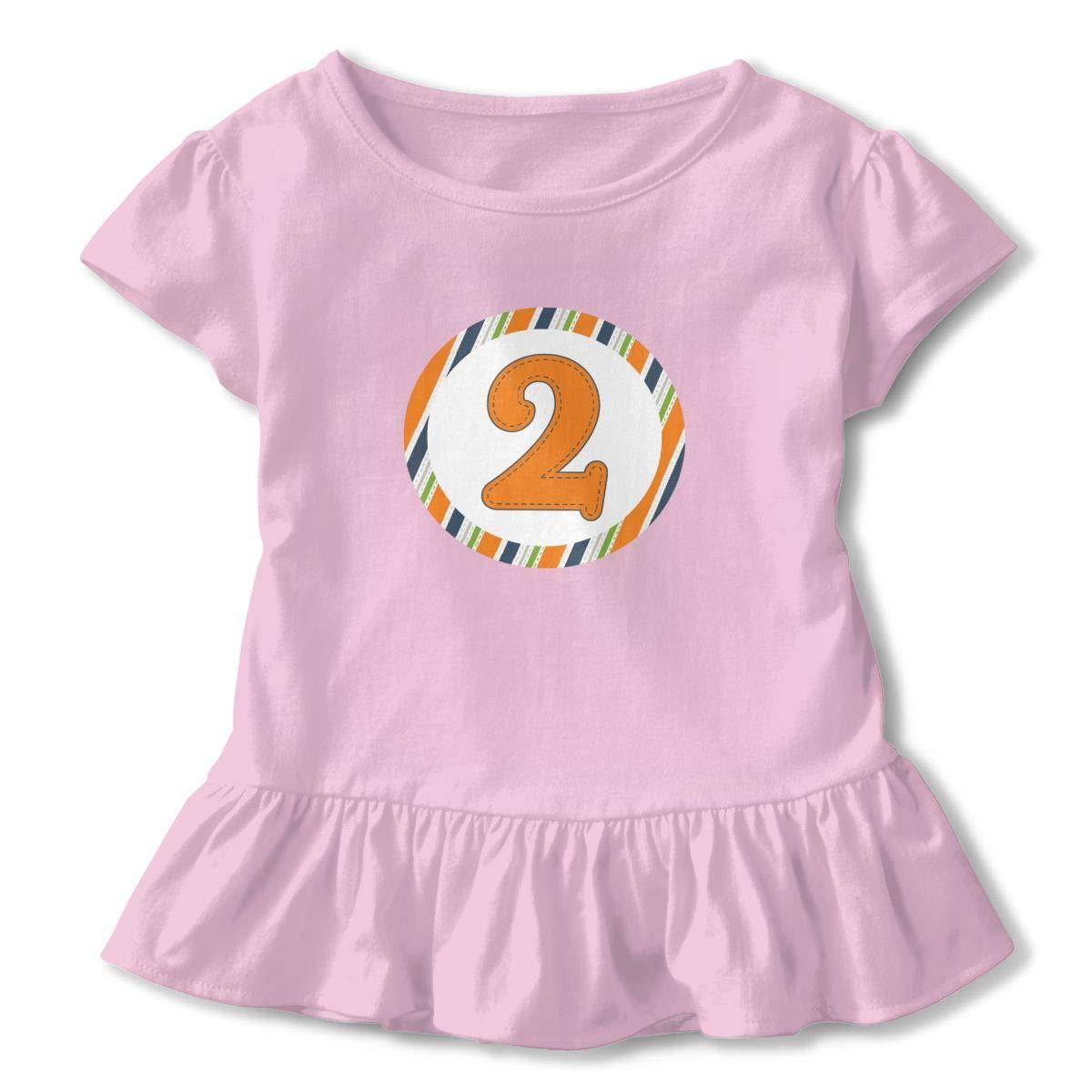 CZnuen 2nd Birthday 2-6T Baby Girls Cotton Jersey Short Sleeve Ruffle Tee
