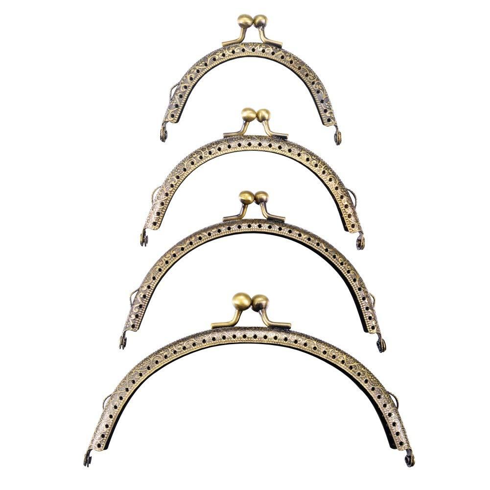 Housweety 5PCs Silver Tone Purse Bag Metal Arch Frame Kiss Clasp Lock 9x6.3cm