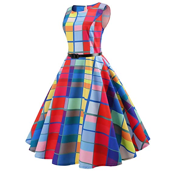 e9b41c4a3e5f Lelili Women Summer Tank Dress Sexy Colorful Plaid Sleeveless Round Neck  Flowy Swing A-Line Mid-Calf Dress with Belt at Amazon Women's Clothing  store: