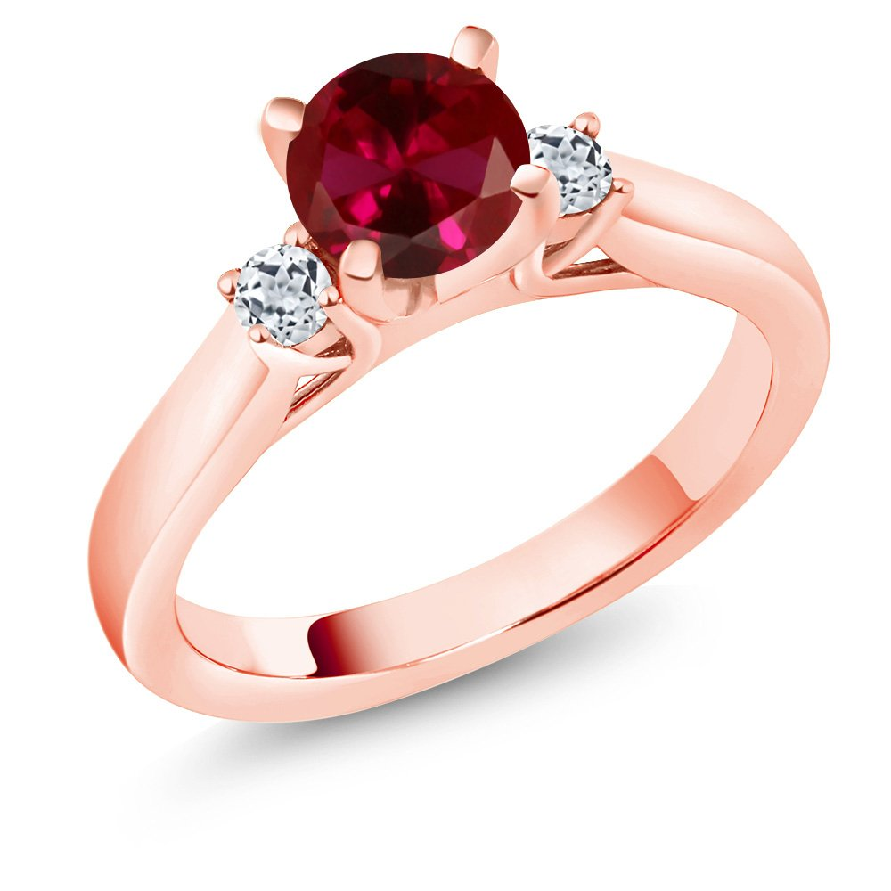 Gem Stone King 1.28 Ct Round Red Created Ruby White Topaz 18K Rose Gold Plated Silver Ring