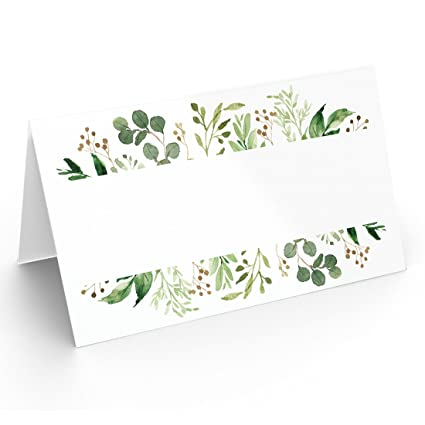 25 Table Place Cards Elegant Greenery Perfect For