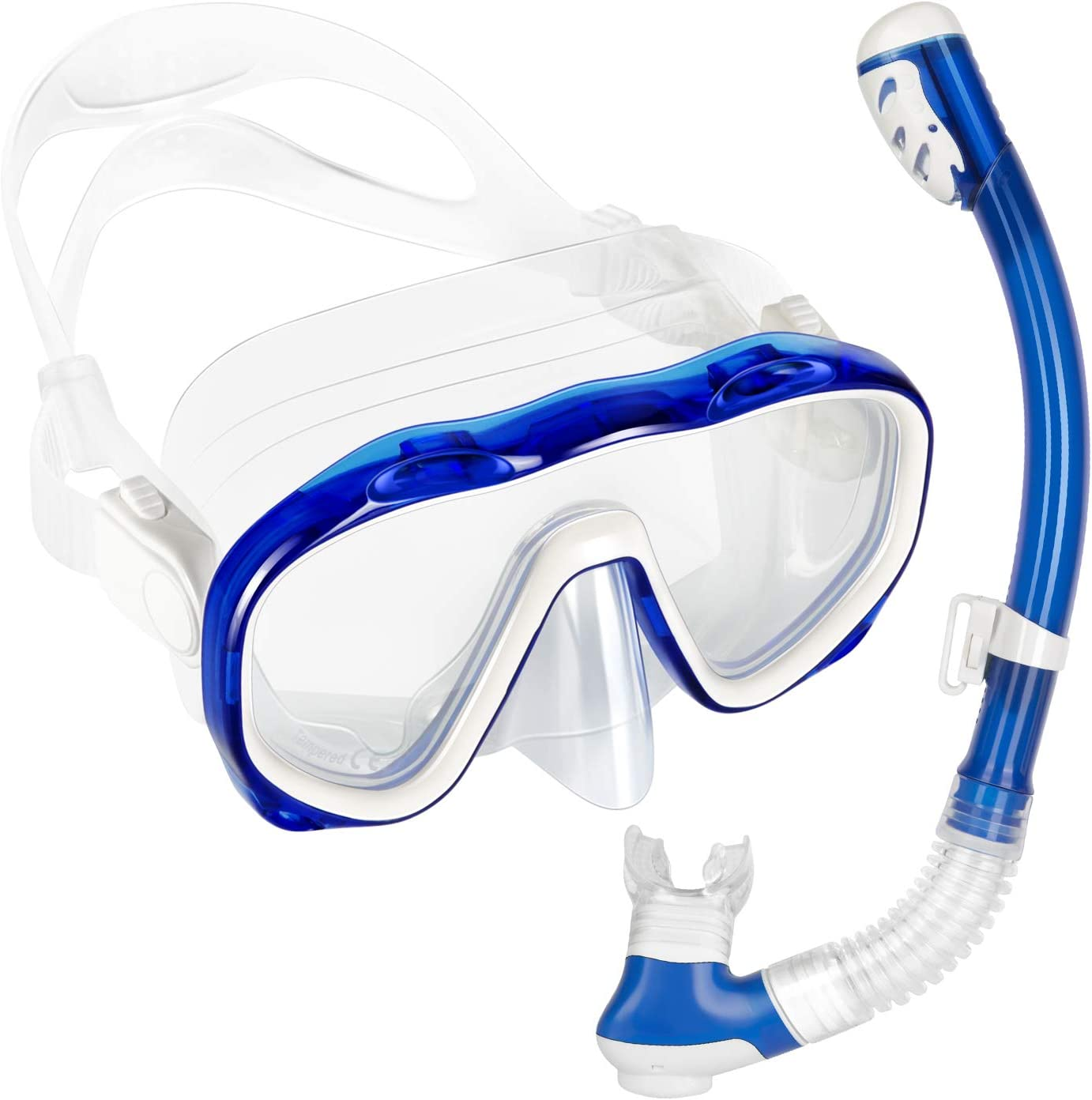 Easy Breathe CO2 Safe Full Face Snorkel Mask Adult and Kids Foldable 180˚ Panoramic View Flat Lens Snorkel Set Anti Leak Great Barrier MozT2 Snorkel Mask Full Face Anti Fog