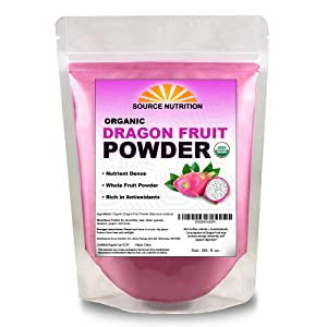 USDA Organic Dragon Fruit Powder, Freeze-Dried Pink Pitaya - Exotic Superfood, Rich in Vitamins and Minerals, Perfect for Coloring in Drinks, Snacks & Baking (8 oz)