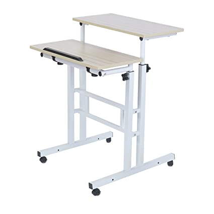 Adjustable Standing Desk Height Mobile Stand Up Desk Computer Workstation    With Standing And Seating 2
