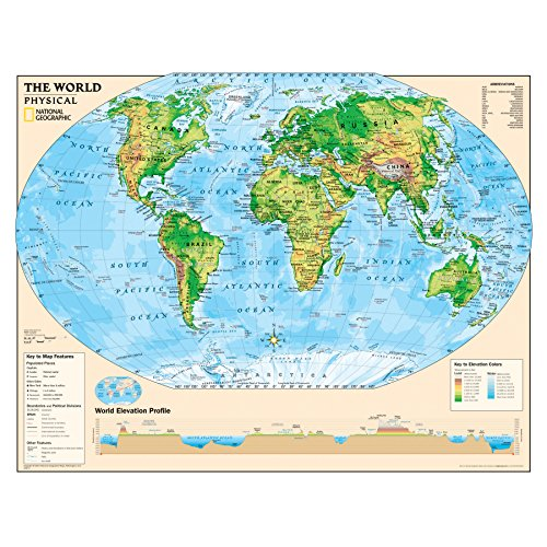 National Geographic: Kids Physical World Education: Grades 4-12 Wall Map - Laminated (51 x 40 inches) (National Geographic Reference Map)
