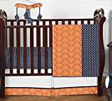 Modern Bright Orange and Navy Arrow Print Hexagon 4 Piece Crib Baby Bedding Set Without Bumper