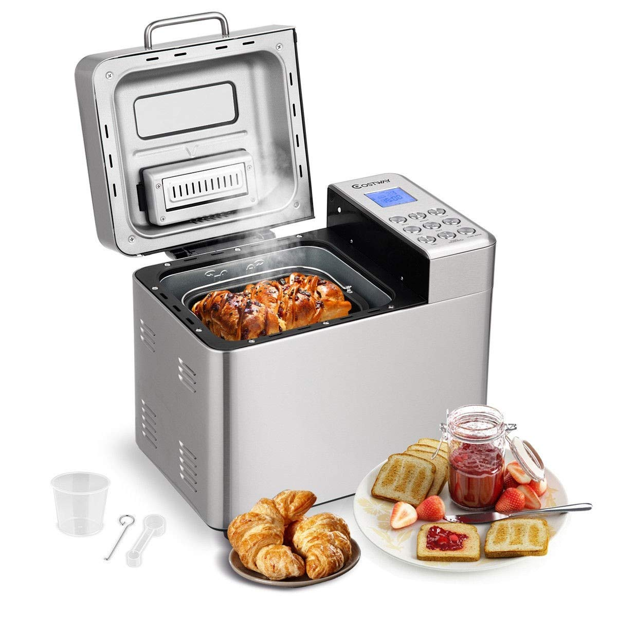 Stainless Steel Automatic Bread Machine - 2LB Programmable Bread Maker with 15 Programs,15 Hours Delay Timer, 1 Hour Keep Warm