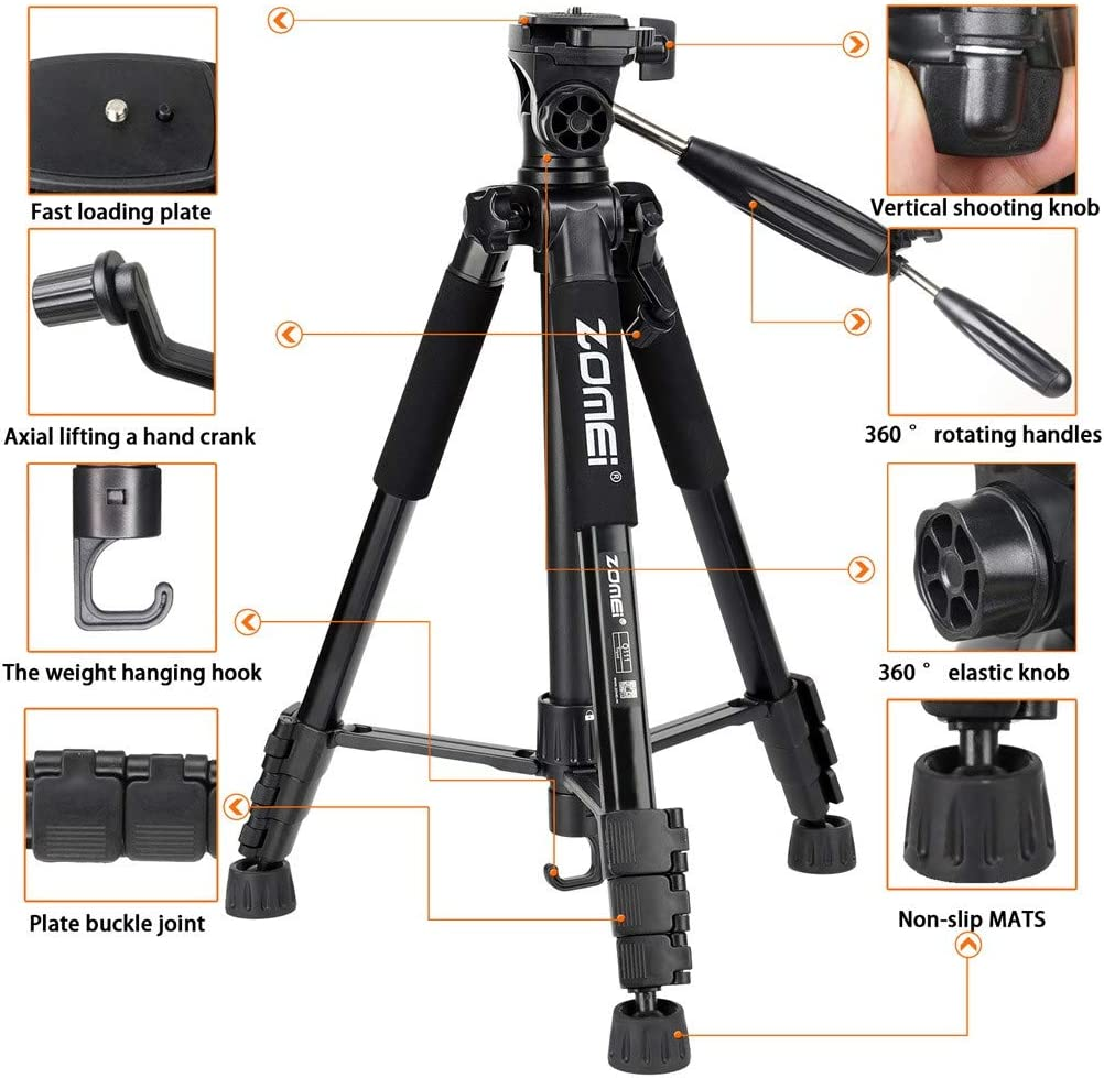 Camera Monopod for Travel 360/° Panorama and Quick Release Plates with Carry Bag Blue Camera Tripod 60 Aluminum Alloy Lightweight Tripod Stand