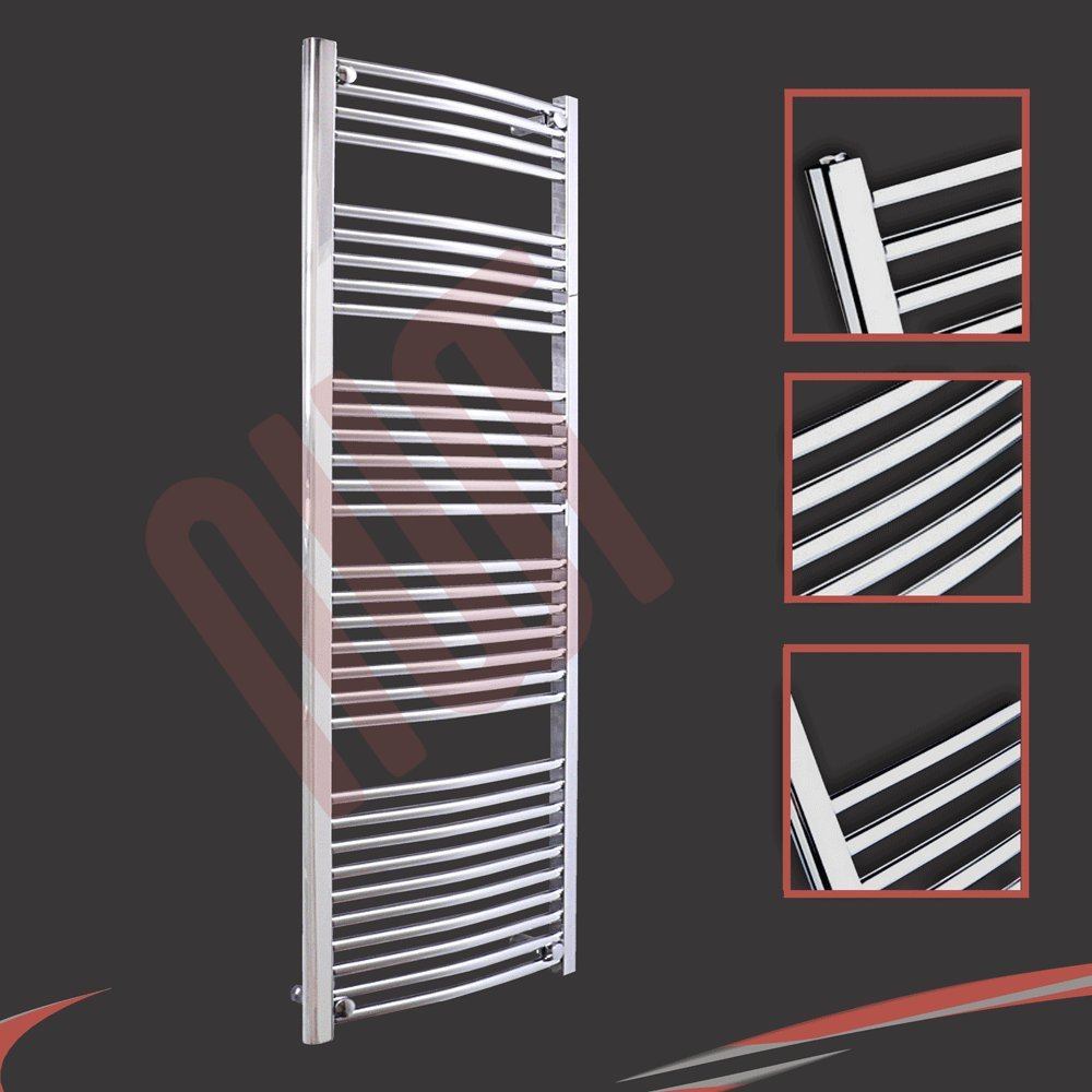 600mm(w) x 1600mm(h) Curved Chrome Heated Towel Rail, Radiator, Warmer 3019 BTUs Bathroom Central Heating Ladder Rail (Horizontal Bar Pattern: 4-5-6-7-10) NWT Direct