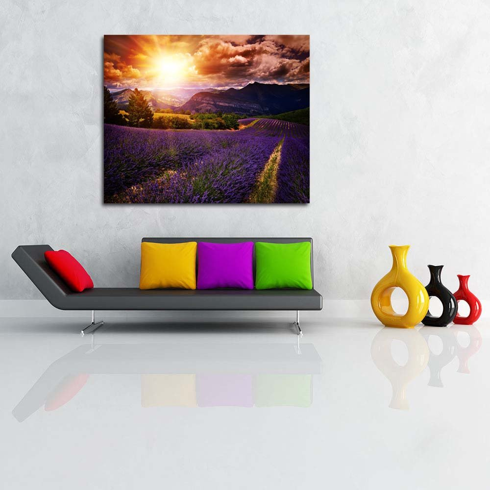 Pitaara Box Lavender Field Summer Sunset Landscape Landscape Landscape Unframed Canvas Painting 34.1 x 28inch a5eb50