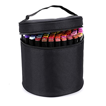 21d5592b66de BTSKY Multifunction Marker Case - Zippered Canvas Pen Bag Pencil Case  Stationary Storage for 80 Markers, Black (NO Compartments Inside)