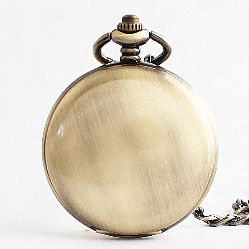 DYH&PW Bronze Smooth Polished Mechanical Pocket Watch Jewelry Alloy Chain Pendant Necklace Man Women's Gift,A