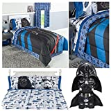 Disney Star Wars Kids Darth Vader Twin Bedding - Reversible Comforter, Sheet Set with Reversible Pillowcase and Talking Plush Darth Vader