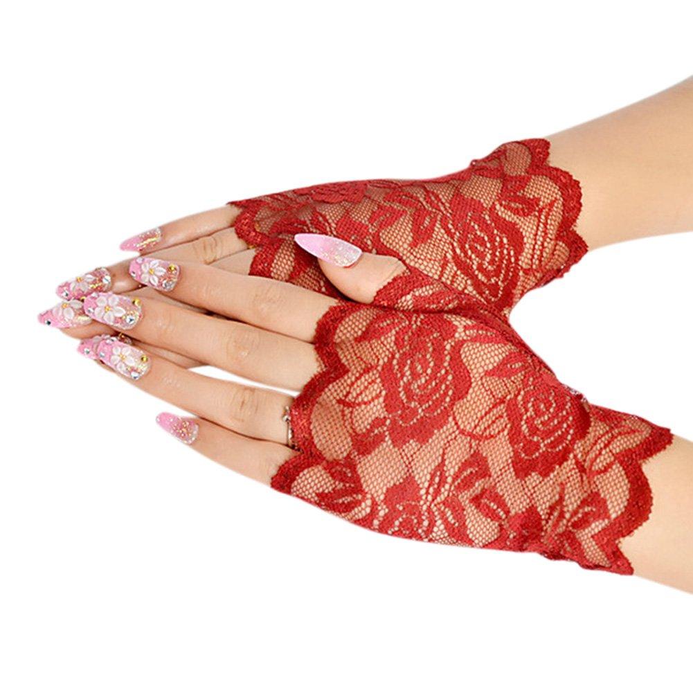Women Pretty Ultraviolet-proof Lace Fingerless Gloves Summer Chiffon Mittens Gift ShiningLove