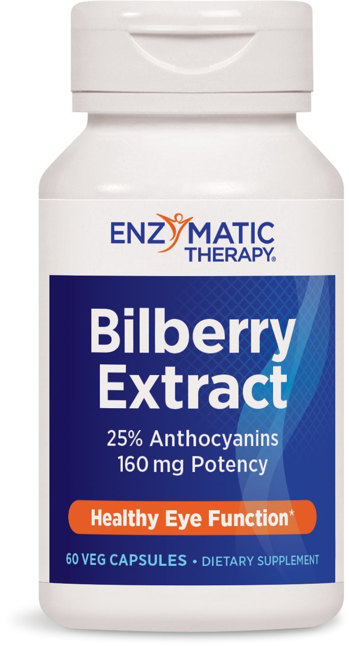Enzymatic Therapy Bilberry Extract 25% Anthocyanins 160 mg Potency, 60 Vcaps