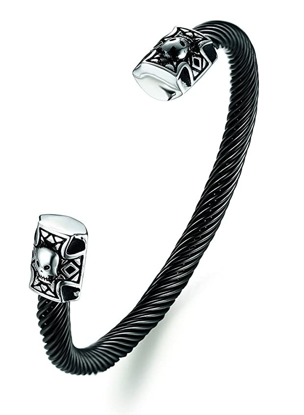 Stainless Steel Gothic Biker Cool Twisted Cable Wire Skull Ends Open Cuff Bangle Bracelets for Men