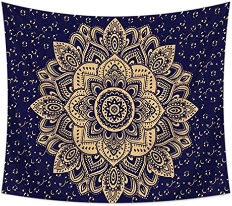 LIGICKY Tapestry Wall Hanging Blue Gold Ombre Mandala Wall Art Hippie Tapestries Bohemian Home Decorations for Living Room Bedroom Dorm, 70.9 x 90.6