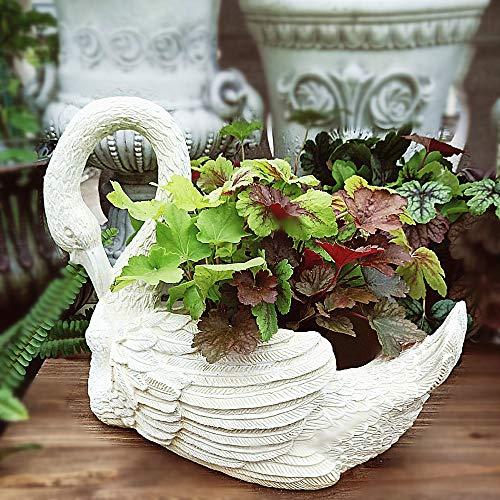 zenggp White Swan Shape Plant Pot Modern Handmade Resin Succulent Pot Garden Statue Modern Handmade (Swan Pot)