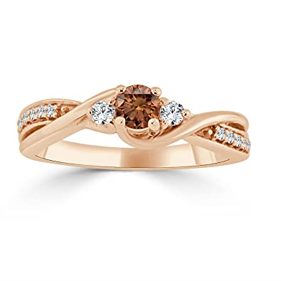 baf488258 14k Gold Twisted Brown Diamond Engagement Ring (1/3 cttw, Brown, I1 ...