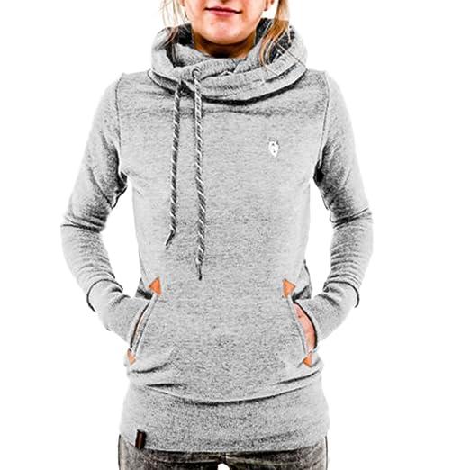 19d3ec6352b ZHU Women Long Sleeve Pocket Hoody Hoodie Hooded Sweatshirt Pullover Jumper  Coat Top Small Light Grey