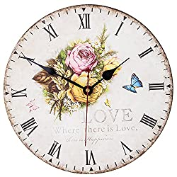 Wooden Clock, SkyNature Silent Round Wall Clocks Living Room Decorative Vintage / Country / French Style (14 in, Love)