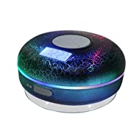 Hrome Bluetooth Shower Speaker IPX7 Waterproof Bathroom Speakers with FM Radio,NFC,LCD Display,Clock, Cool Cracking Backlit,Strong Adhesion Suction Cup Hands-free Calls
