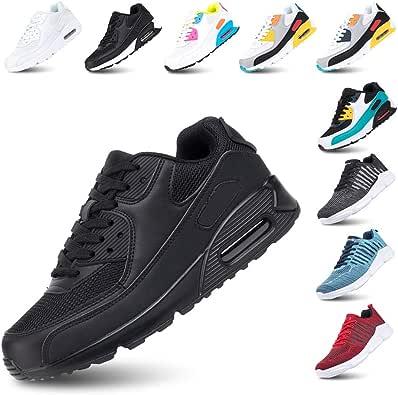 Zapatillas de Deportivas para Mujeres Zapatillas Correr Hombre Sneakers Cordones Plataforma Running Gimnasia Ligero Respirable Negro Azul Gris Rosa Blanco EU36-EU47: Amazon.es: Zapatos y complementos