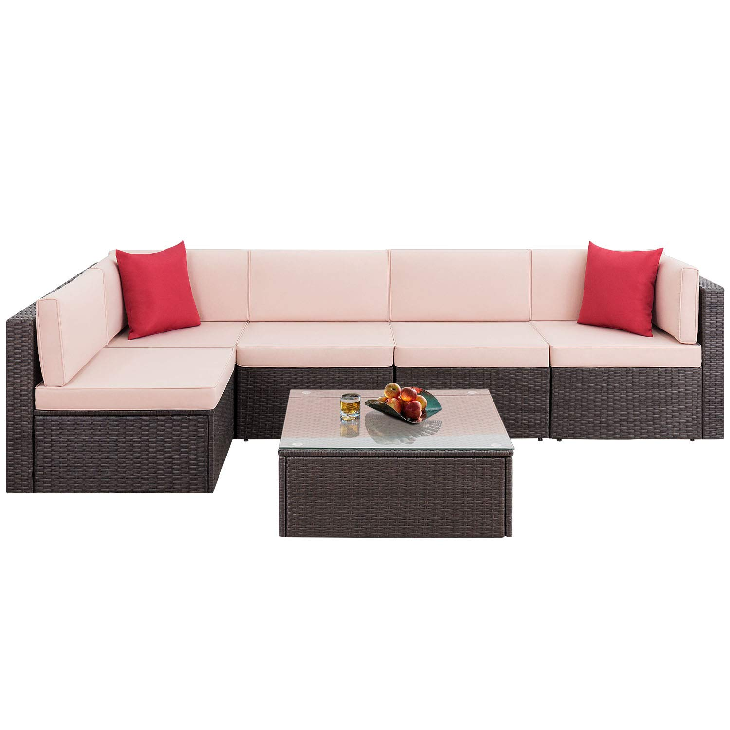 Devoko 6 Pieces Patio Furniture Sets Outdoor Sectional Sofa All-Weather Manual Weaving Wicker Rattan Patio Conversation Set with Cushion and Glass Table Brown