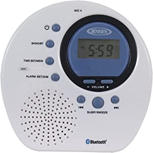 Jensen JWM-160 Water-Resistant Digital AM/FM Bluetooth Shower Clock Radio, Blue