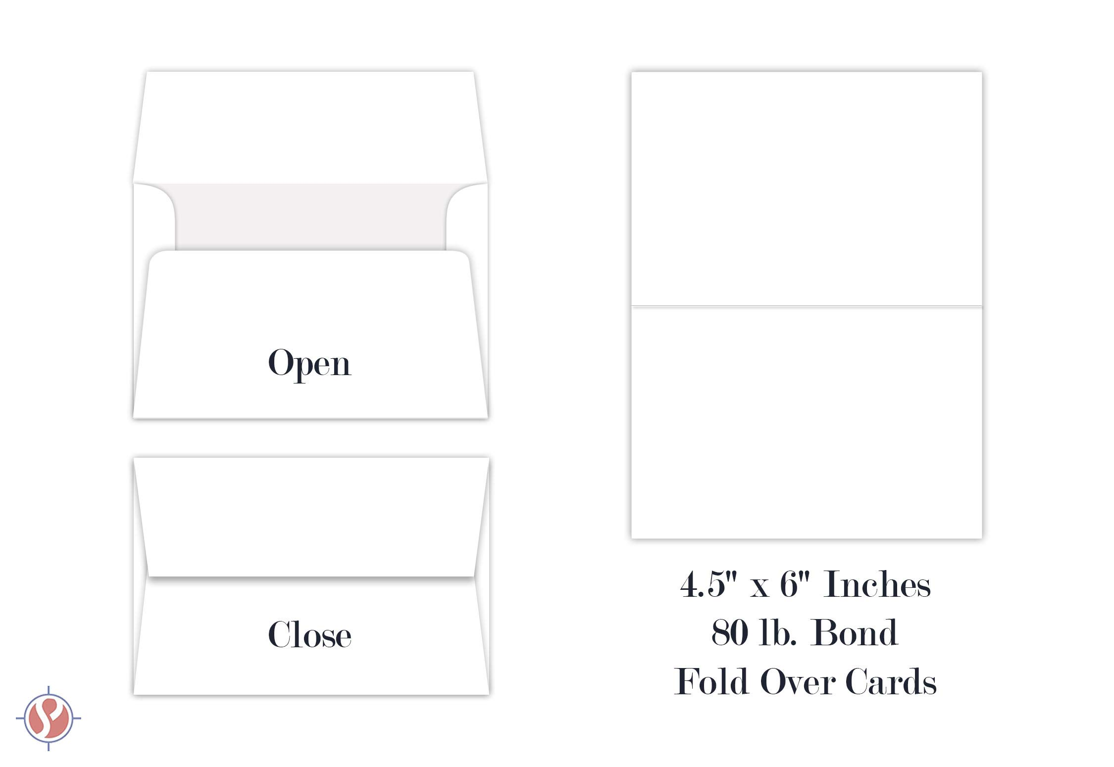 White Blank Greeting Fold Over Cards 80lb. Uncoated, 4 1/2 X 6 Inches Cards - 40 Foldover Greeting Cards Cards and Envelopes by S Superfine Printing (Image #8)