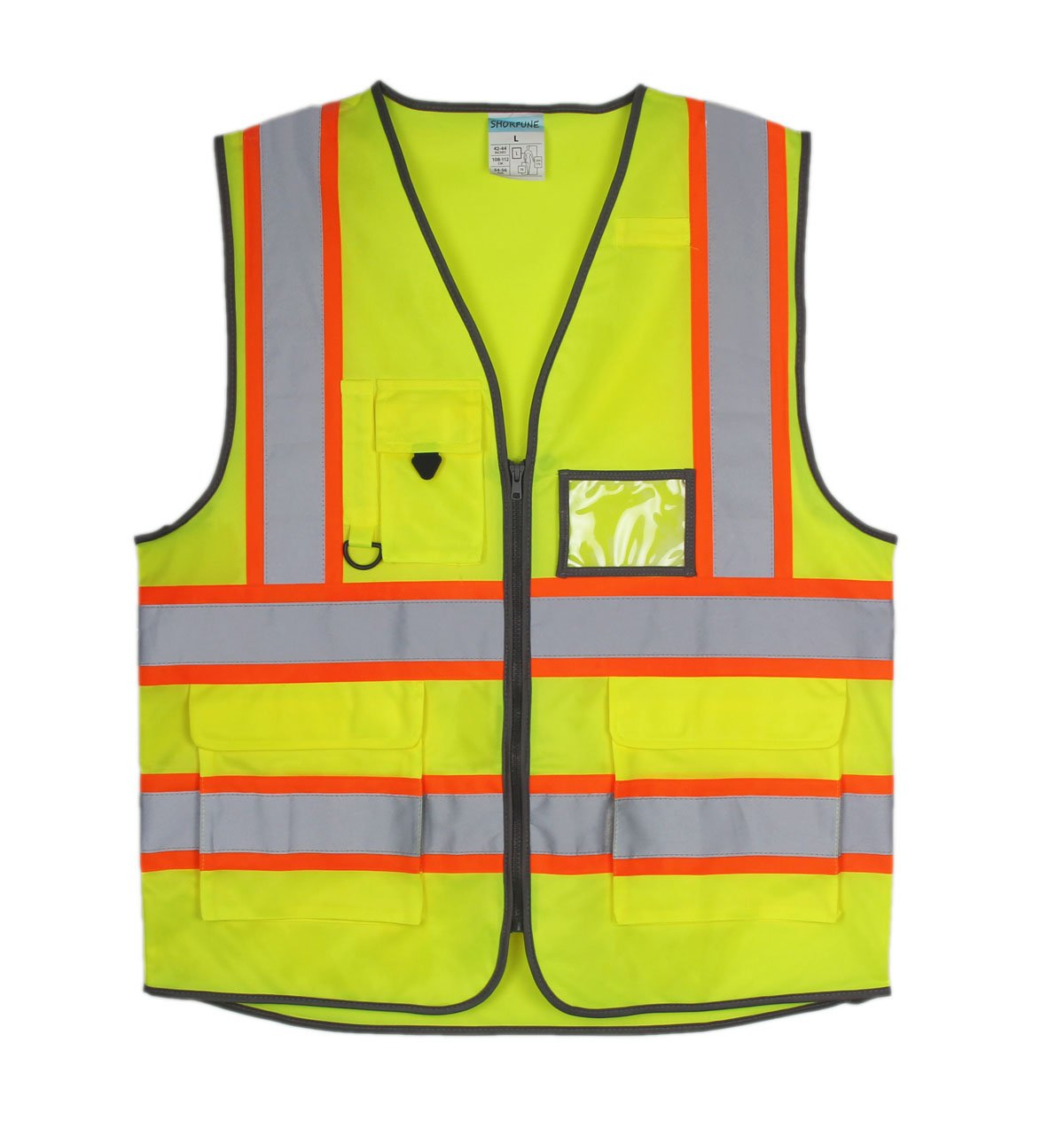 SHORFUNE 1119U High Visibility Reflective Safety Vest with Pockets and Zipper, Double Horizontal Reflective Strips, ANSI/ISEA Standard, Neon Yellow, L